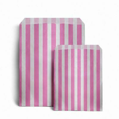 "Pink Candy Stripe Paper Bags 5"" x 7""  Pack of 100"