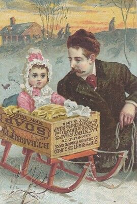 Victorian Era Trade Card Babbitt's Baby Soap Father and Daughter Sled Soap Box