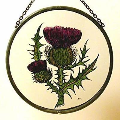 Decorative Winged Heart Hand Painted Stained Glass Roundel/Sun Catcher - Thistle