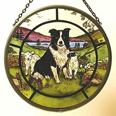 Decorative Winged Heart Hand Painted Stained Glass Roundel - Collie Dog and Lamb