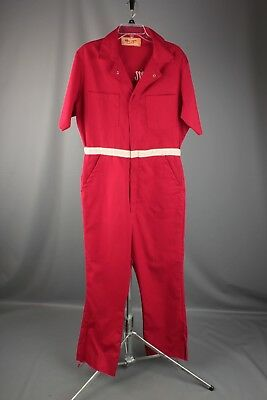 Vtg. 70s Men's Elton John Tour '74 Crew Jumpsuit in Red Size 40 #914 1970s