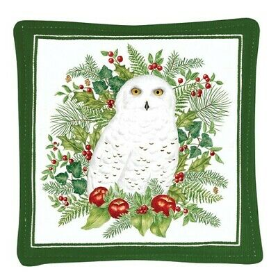 Alice's Cottage Cotton Scented Spiced Mug Mat Coaster Snowy Owl - NEW