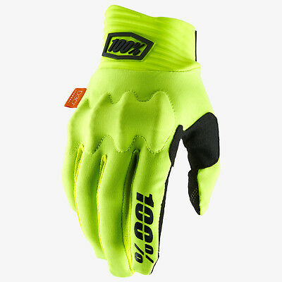 2019 100% Cognito Motocross Mx Enduro Mtb Bike Gloves - Fluo Yellow / Black