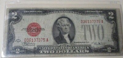 1928E $2 Dollar Bill Old Us Note Legal Tender Paper Money Red Seal