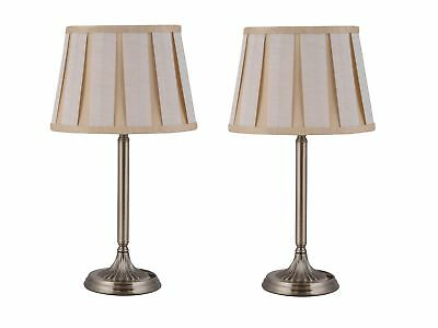 Pair of Antique Brass Table Lamp Bedside Lights Gold Champagne Pleated Shades
