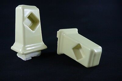Antique Vintage Yellow Tile-In Towel Bar Brackets Pair 1950's