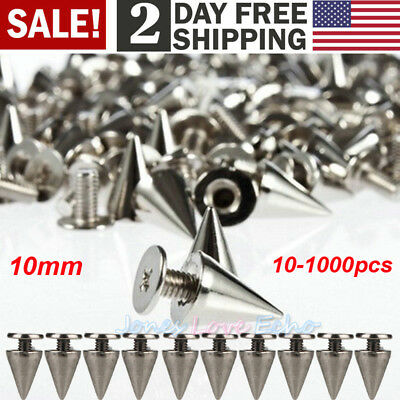 Lot 10mm Silver Spots Cone Screw Metal Studs Leather craft Rivet Bullet Spikes