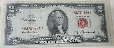 ERROR *Star* 1953 A $2 United States Note  Replacement Note  RED SEAL-