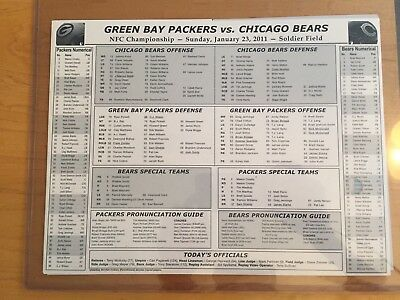 2010 Green Bay Packers Chicago Bears NFC Championship Roster Card NR-MT TO MT