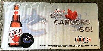 Vancouver Canucks NHL Hockey Team Logo Molson Canadian Beer Advertising Banner