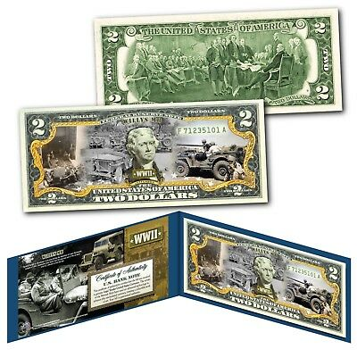 WILLYS MB FORD GPW JEEP Military Truck WWII Genuine Legal Tender U.S. $2 Bill