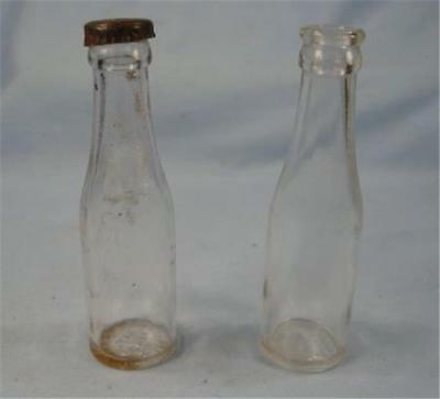 Vintage Salt & Pepper Shakers Glass Bottles Clear One Has A Metal Cap Top (O)