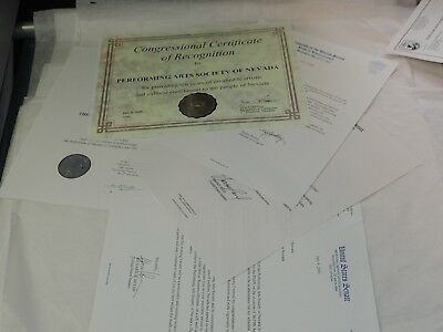 Proclamation,Congressional Certificate & Performing Arts society of Nevada 2000
