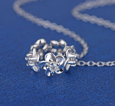 Flower Zircon Pendant 925 Sterling Silver Chain Necklace Womens Jewellery Gifts