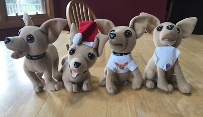 Lot Of 4 Yo Quiero Taco Bell Stuffed Talking Dogs  1990's Collectible