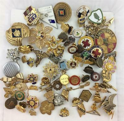 70 Vtg Fraternal Organizations, Companies , 4H, Lapel Pins, Tie Tacks, Fobs etc.