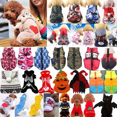 Pet Dog Puppy Cat Clothes Winter Warm Hoodie Sweater Coat Vest Costume Apparel