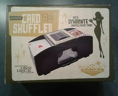 WEMBLEY AUTOMATIC CARD SHUFFLER, Includes 1 Dealers Deck of New Cards