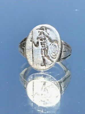 "GOD Of War ""Mars"" Roman Ancient Silver Ring, US Size 10.5....2-3 cent AD"