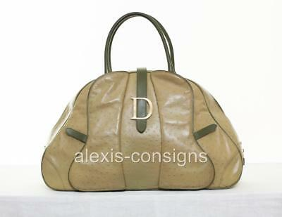 2071817e03d0 Christian Dior Olive Green Ostrich Stamped Leather Jumbo XL Double Saddle  Bag