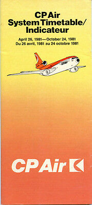 CP Air - Canadian Pacific Airlines April 26, 1981 System Timetable