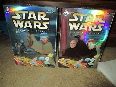Lot of 2 Star Wars cereal boxes- unopened Episode 2- Collector's Edition 1 & 2
