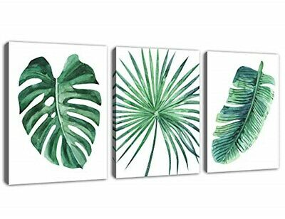 myhomestation Green Leaf Wall Art Tropical Plants Simple Life Picture Artwork, 3