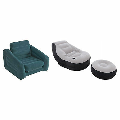 Intex Inflatable Pull-Out Chair Twin Bed Air Mattress & Inflatable Lounge Chair