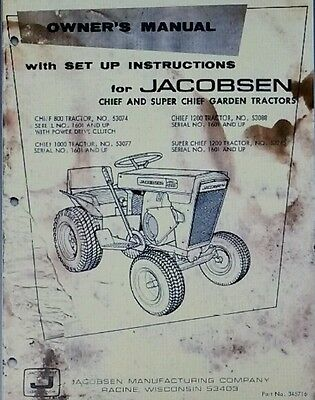 jacobsen and ford garden tractor and implement manuals pdf format rh picclick com Jacobsen Chief 800 Jacobsen Chief 750