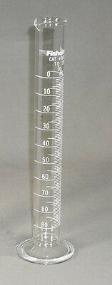 New 100 ml Glass Graduated Cylinder Fisherbrand Round Bottom 08-550E