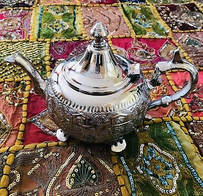 Traditional Moroccan handcrafted silver plated teapot.