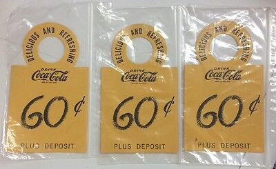 1950's (3) Yellow Coca Cola Tags For   6 Bottle Carton Bottle Neck Tags 60c NOS