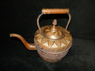 Antique Persian Middle Eastern Copper Silver Brass Inlaid Kettle