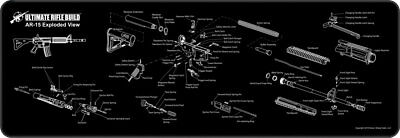 """Gun Cleaning Mat 12x36"""" Exploded Rifle Parts Diagram, Stitched Edge Non-slip NEW"""