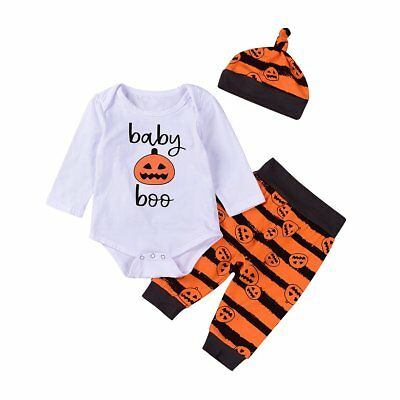 Newborn Kids Baby Boys Girls Clothes Pumpkin Romper Bodysuit+Pants+Hat 3PCS Set