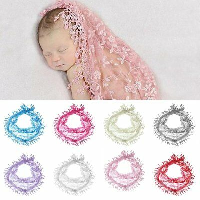 Newborn Baby Stretch Lace Floral Wrap Swaddle Photography Prop Photo Backdrop