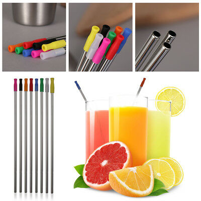 """10.5"""" Metal Drinking Straw Stainless Steel Silicone Tips Straws Bar Accessories-"""
