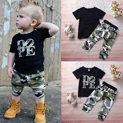 2PCS Toddler Kids Baby Boys T-Shirt Tops+Camouflage Pants Trousers Outfits Set