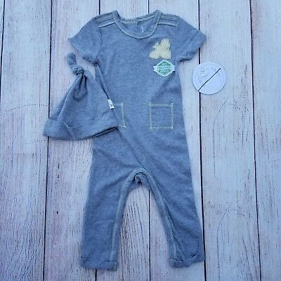 9fba6ee92 BURTS BEES UNISEX Baby Romper Size 3-6m Organic Cotton Gray White ...