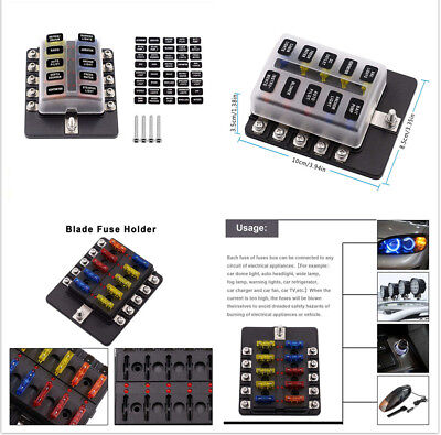 10 Way Red LED Indicator Auto Car Standard Fuse Box Fixed By 4 pre-moulded Holes