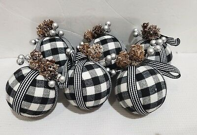 Christmas Buffalo Check Black White fabric Ornaments Set of 6