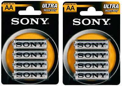 Sony 8 Pack of Ultra Heavy Duty AA R6 batteries 1.5v. AA batteries