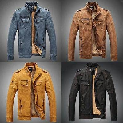 Men's Genuine Lambskin Leather Jacket blue Slim fit Biker Motorcycle jacket Hot