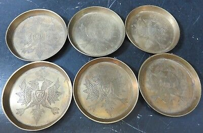 """Vintage Set of (6) Double Headed Eagle Solid Brass Coasters 3.63"""" Very Good Cond"""