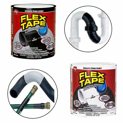 "Strong Water Proof Flex Tape White Black 4"" x 5' Rubberized Seal Stop Leak Tape"