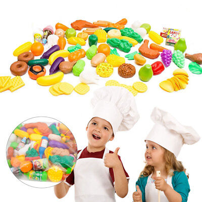 120pcs Plastic Food Fruits Vegetables Model Kitchen Pretend Role Play Toys Gift