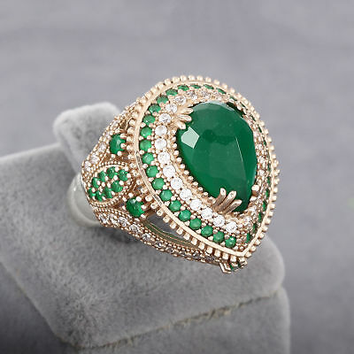 Turkish 925 Sterling Silver Handmade Jewelry Emerald Ladie's Ring