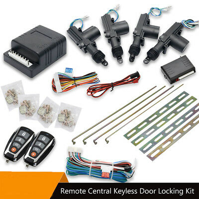 High Quality Car Remote & Full Set Central Locking Kit 4 Doors Actuator & 2 Fobs