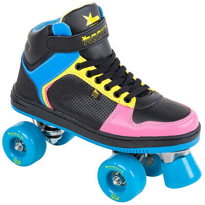 ROOKIE Rollschuh Rollerskates HYPE HI TOP TRAINER 2016 black/blue/pink/yellow