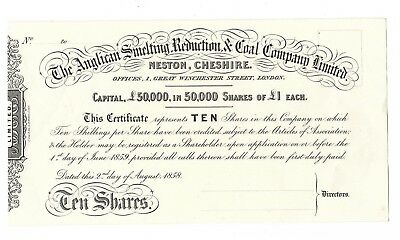 Share Certificate The Anglican Smelting Reduction  Coal 1858 10 Shares Unissued